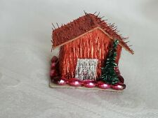 Vintage House Village Christmas Red Collectible Rare Early Tree Pink Beads