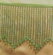 Grass Green GLASS beaded fringe with design in the middle  - lampshades  #114