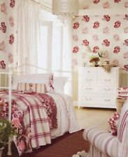 Laura Ashley Wallpaper ADRIANA Cranberry New, Sealed pink floral