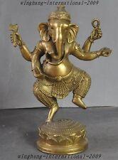 "8"" Tibet Buddhism Fane Brass 4 Arms Elephant God Jambhala Ganesha Buddha Statue"