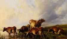 Oil painting thomas sidney cooper - cattles cows watering by summer landscape