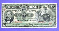 Mexico, EL BANCO DE LONDRES Y MEXICO, 5 PESOS,1913, P.S233