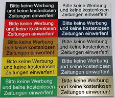 """Hinweisschild, Briefkastenschild """"Bitte keine Werbung & Zeitungen einwerfen"""""""