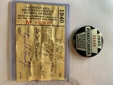 1940 Pennsylvania Resident Citizen Fishing License With Papers