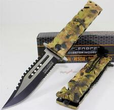 "9"" TAC-FORCE Jungle Camo Bowie Sawback Spring Assisted Opening Rescue Knife"