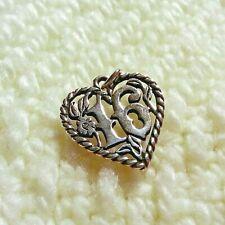 Retired James Avery Sterling Silver Sweet Sixteen Heart Bracelet Charm/Pendant