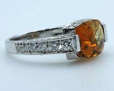 "Diamond Ring 18k WG Ring with 0.66ct Diamonds+ Cushion Cut Citrine ""CLOSE OUT"""