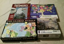 LOT of 4 Educational US World Jigsaw Puzzles More EUC BK7