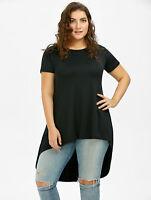 Plus Size XL-5XL Women Long Tail Top High Low T-Shirt Dresses Blouse Tunic Tee