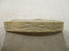 BARCELONA WHITE LEATHER LIZARD EMBOSSED SNAP CLOSURE BANGLE BRACELET VTG JEWELRY