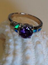 New Ring Purple Amethyst/Australian Opal .925 Solid Sterling Silver Sz 7