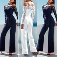 Women Playsuit Party Jumpsuit Romper Long Trousers Pants Clubwear Lace Sleeve