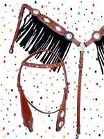 WESTERN HEADSTALL BREASTCOLLAR SET BLACK FRINGE PLEASURE SHOW HORSE LEATHER TACK