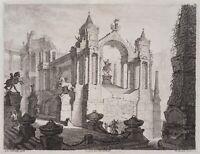 F.LANDERER(*1730) nach Hohenberg, Architekturcapriccio, Antike, Radierung