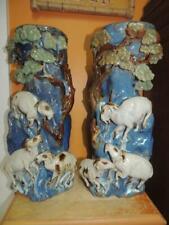 "Pair Chinese Vase 15""+ Vase Blue Drip Glaze Majolica style Goats Climbing Rocks"