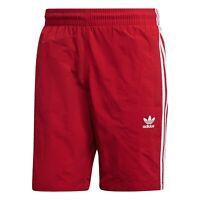 Adidas Originals 3 Stripe Zip Pocket Mens Swim Casual Shorts Red Size.L