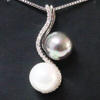 Sparkling Round White & Grey Pearl Necklace Women Jewelry 14K White Gold Plated