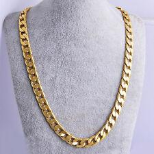 """18K 24 """"Massive Goldkette Herren Kette massiv Halskette Figarokette Collier 7mm"""