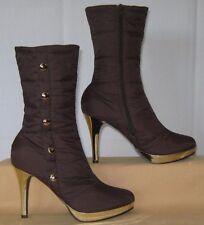 BUMPER Brown & Gold Platform Boots 8 1/2