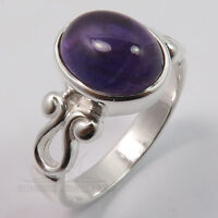 FINE 925 Sterling Silver Natural AMETHYST Gemstone Charming Ring Choose Size