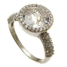 PAVE & HUGE CHECKER BOARD CZ HALO ENGAGEMENT  WEDDING RING -925/SS FLAWLESS SZ 7