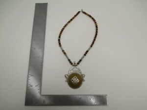 Vintage Sterling Silver Tuareg Berber Homemade African Necklace Calcite S3784