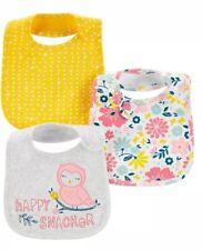 NWT BABY GIRL WATER RESISTANT 3 PACK OF BIBS- OWL