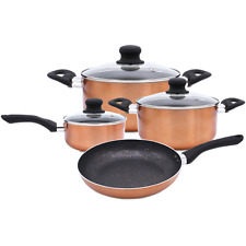 7 PC Cookware Set Marble Coating Induction Cooking Nonstick Aluminium Pots Pans