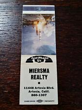 Vintage Matchcover: Miersma Realty, Artesia, CA  42