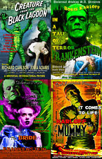 Classic Monster Lot Frankenstein Bride The Mummy Creature 4 Sale Posters