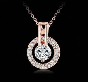 Circle Solitaire Crystal Pendant and Chain - Rose Gold Plated - New in Gift Box