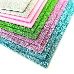 10x Sheets A5 Glitter Foam Art Craft Kids Children's Shiny Glittery Card Making