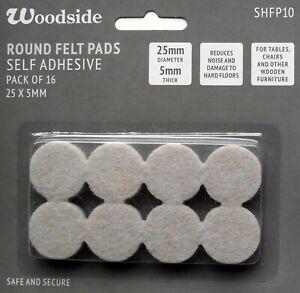 Round Felt Pads Furniture Leg Floor Protectors 25mm Self Adhesive pk 16 Woodside