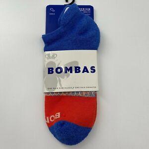 Bombas Women's Ankle Socks Low Blue/Orange Space Dye Triblock Size M/8-10.5