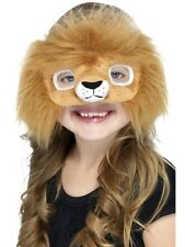 Lion Mask Faux Fur Furry Cat Costume Face Childs Boys Girls Kids One Size NEW
