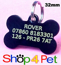 Dog ID Tag 32mm Aluminium Dog PET Tags Engraved Free with YELLOW infil Engraving