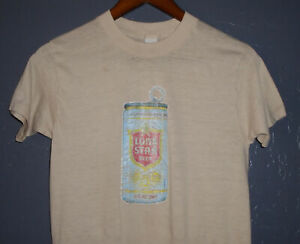 Vtg 70s 80s LONE STAR BEER Can T-Shirt TEXAS Brewery Single Stitch USA Small