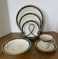 Noritake Etienne Ivory China 6 Piece Place Setting Japan Beautiful Condition