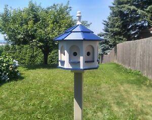 Birdhouse Large Gazebo Birdhouse   Poly Amish Handmade 8 rooms White and Blue