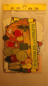 6 Vtg Food Groups Diet/Health Posters,Trend 1972 Bulletin Board Teaching Aid NOS