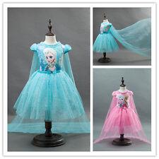 Frozen Girls Princess Dress Pageant Kids Anna Elsa Dresses Formal Party Skirt