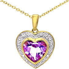 Naava 9ct Diamond and Amethyst Heart Pendant Necklace 46cm chain - PP03052YAM