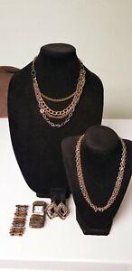 Jewelry with Multi color Metal, copper, silver, black, gold. See Description.