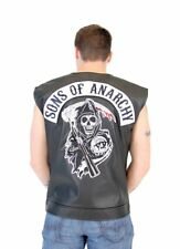 Adult TV Show SOA Sons of Anarchy Black Leather Highway Logo Costume Biker Vest