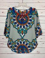 Peach Love California Boutique Women's S Small Gray Boho Spring Top Blouse Shirt