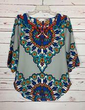 Peach Love California Boutique Women's S Small Gray Boho Fall Top Blouse Shirt