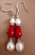 Gemstone Earrings Cultured Pearls & Coral 925 Stamped Silver Ear Wires New Gift