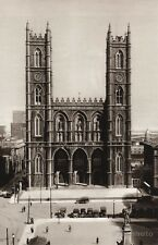 1925 Vintage CANADA ~ NOTRE DAME Cathedral Architecture Street Quebec Photo Art