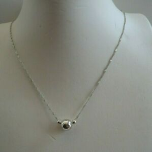3 BEADS SINGAPORE CHAIN NECKLACE PENDANT / 925 STERLING SILVER / 16 - 18''