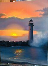 oil paintings original landscape lighthouse at sunset 🌅 Canvas Size 18/24